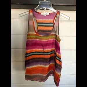 Forever 21 multi colored sheer stripped tank
